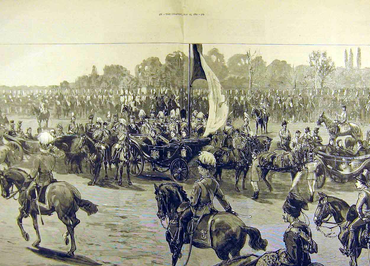 Print 1882 Royal Review Troops Egypt Queen Saluting Point 83T8711 Old Original