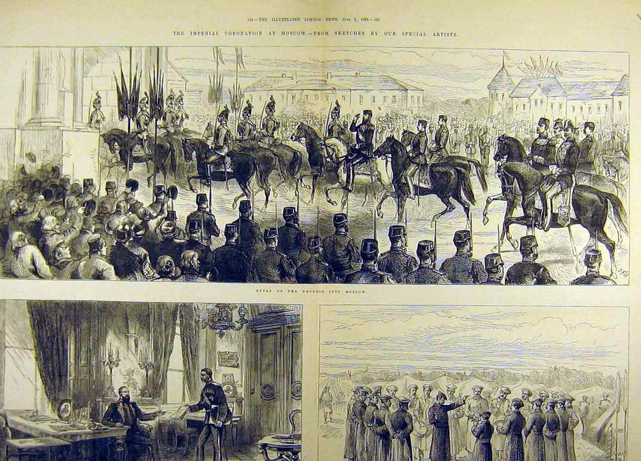 Print 1883 Imperial Coronation Moscow Procession Kremlin 91T8711 Old Original