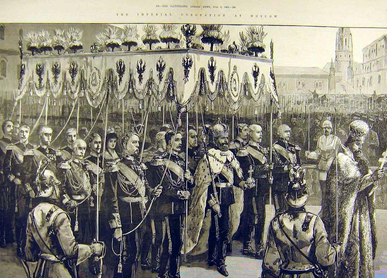 Print 1883 Procession Imperial Coronation Moscow Crowned 92T8711 Old Original