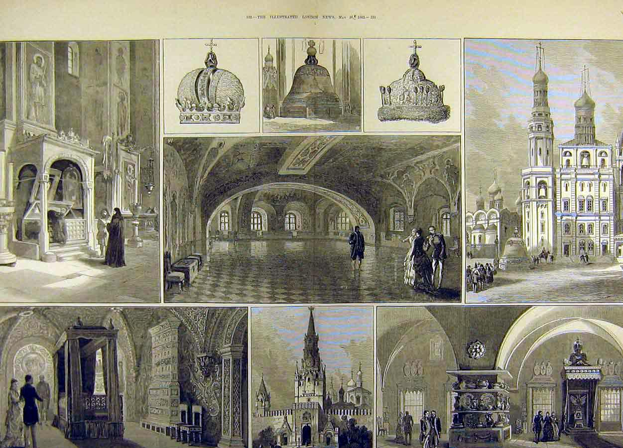 Print 1883 Imperial Coronation Moscow Kremlin Russia 93T8711 Old Original