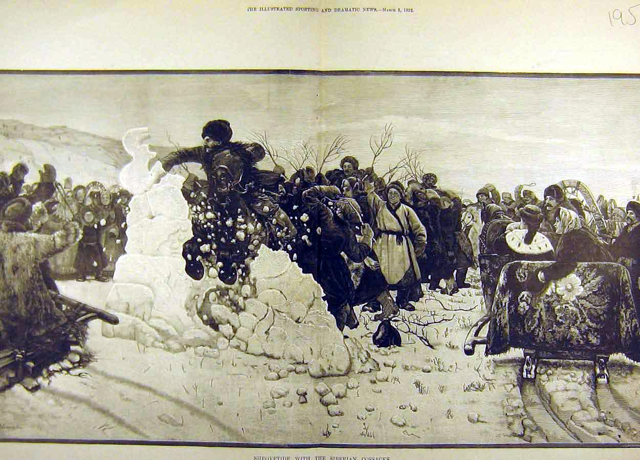 Print 1892 Shrovetide Siberian Cossacks Snow Winter 95T8711 Old Original