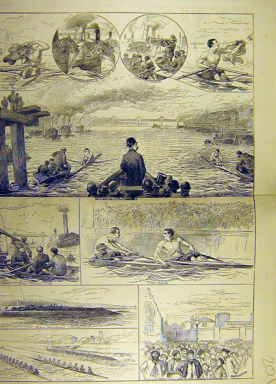 Print 1878 Sketches Boat Race Challenge Cup Higgins Boyd 01T8711 Old Original
