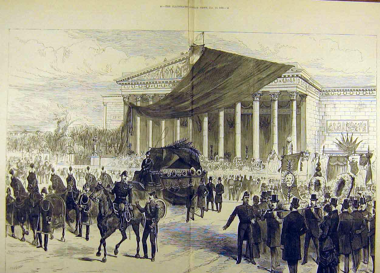 Print 1883 Funeral Procession Gambetta Palais Bourbon 09T8711 Old Original