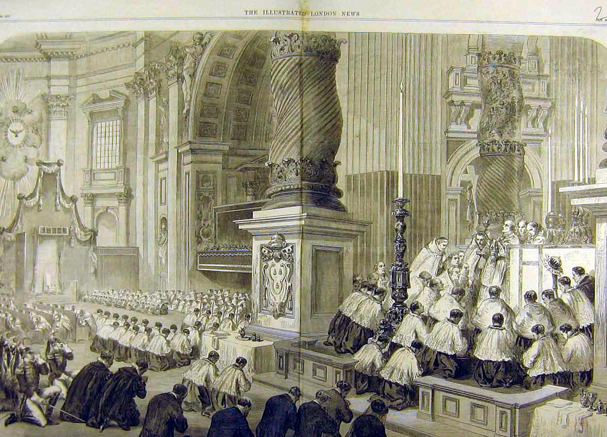 Print 1870 Christmas Day Service St. Peter'S Rome Cathedral 19T8711 Old Original