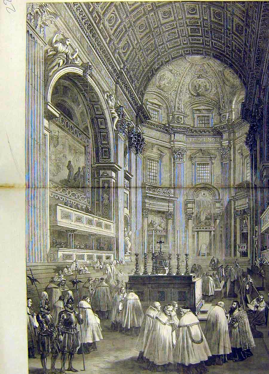 Print 1870 Council Chamber North Transept St. Peters Rome 21T8711 Old Original