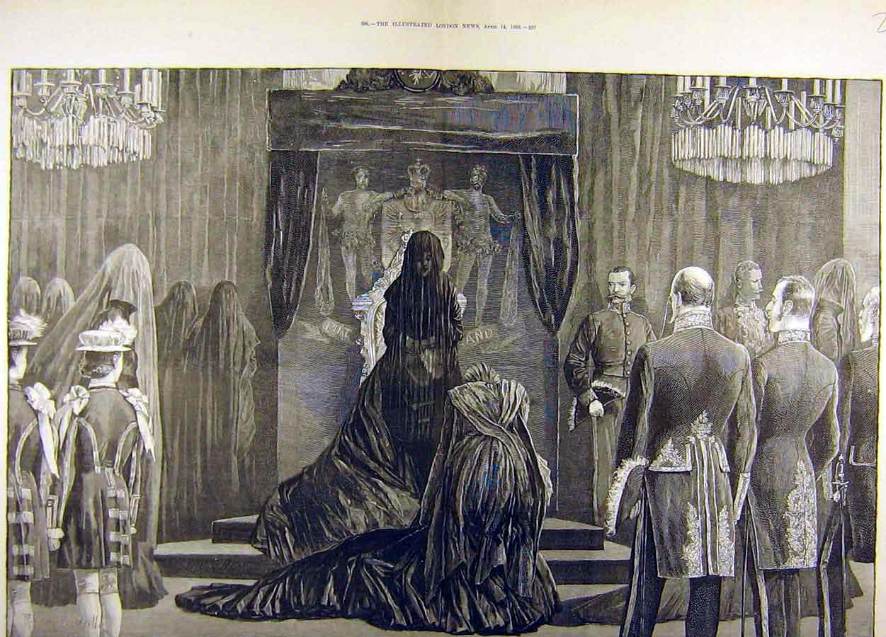 [Print 1888 German Empress Mourning Court Berlin Schloss 22T8711 Old Original]