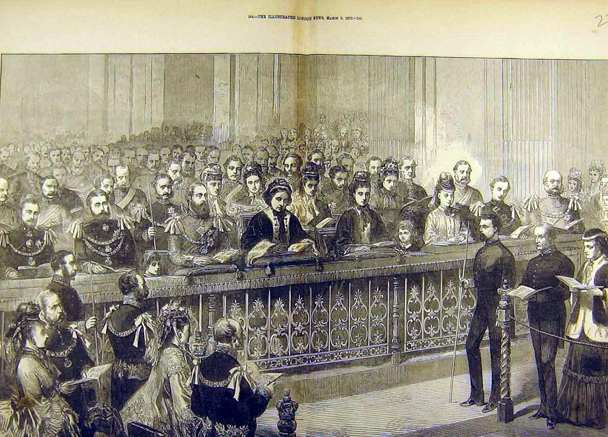 Print 1872 Thanksgiving Day Royal Pew St. Pauls Cathedral 28T8711 Old Original