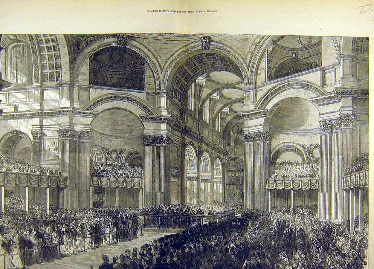 Print 1872 Thanksgiving Service St. Pauls Cathedral London 29T8711 Old Original