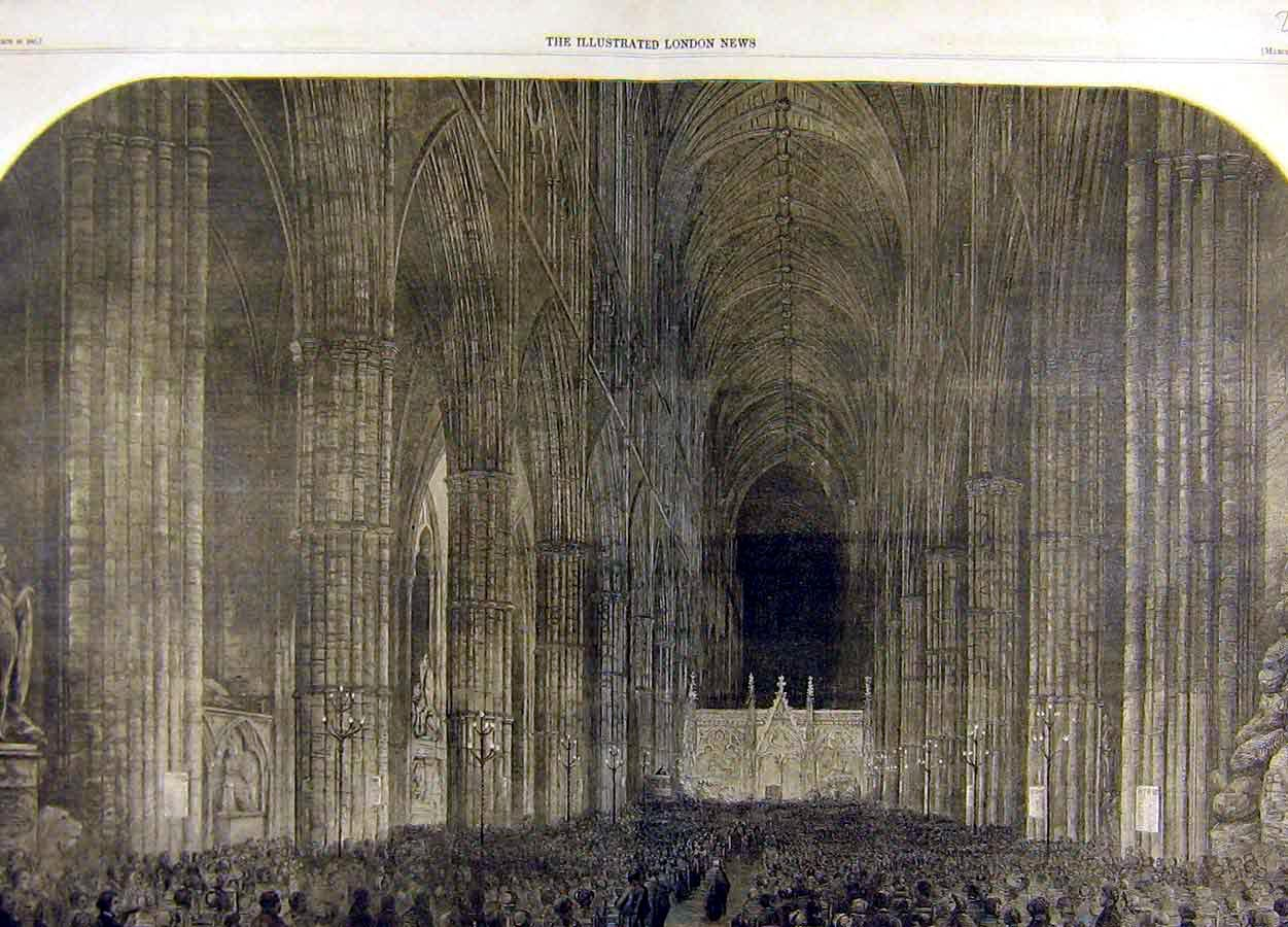 Print 1861 Westminster Abbey Interior Service Columns 44T8711 Old Original