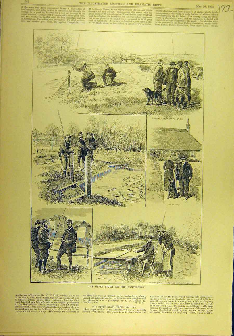 Print 1893 Upper-Stour Fishery Conterbury Fishermen Sport 228721 Old Original