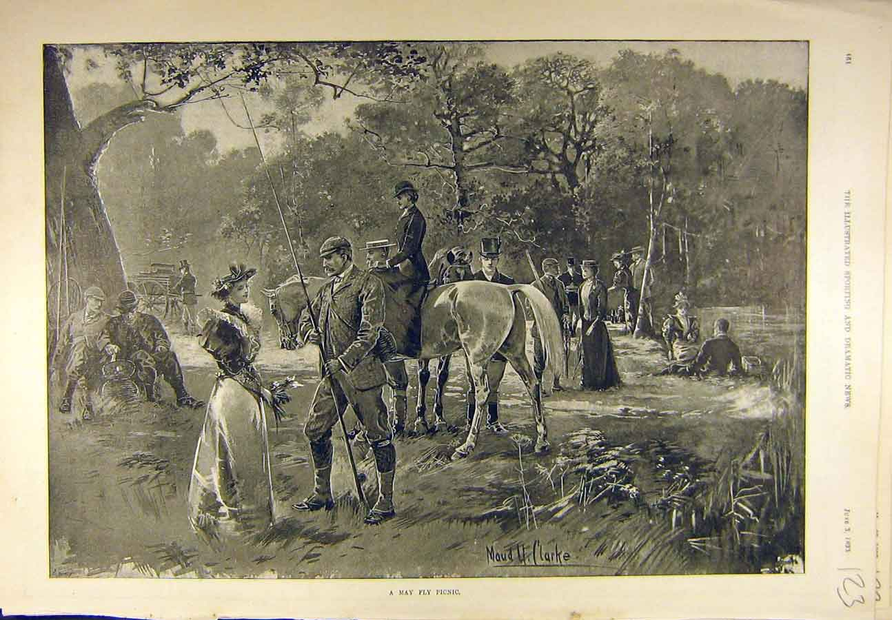 Print 1893 May-Fly Picnic Fishermen Clarke Sport 238721 Old Original