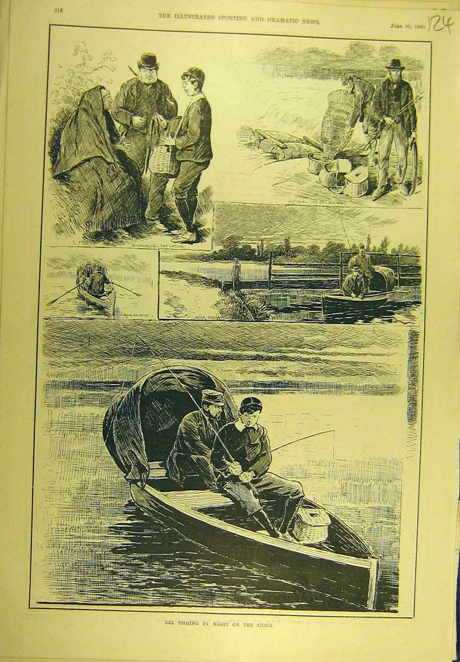 Print 1893 Eel-Fishing Stour River Fishermen Sport 248721 Old Original