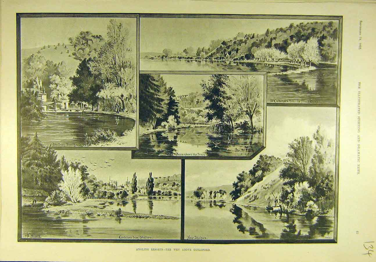 Print 1892 Angling Resorts Wey Guildford Fishing Sport 348721 Old Original