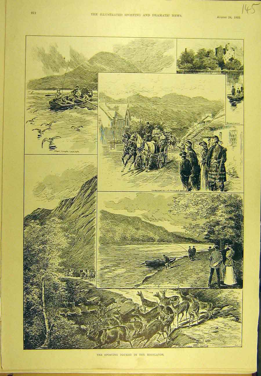 Print 1895 Sport Tourist Highlands Scotland 458721 Old Original