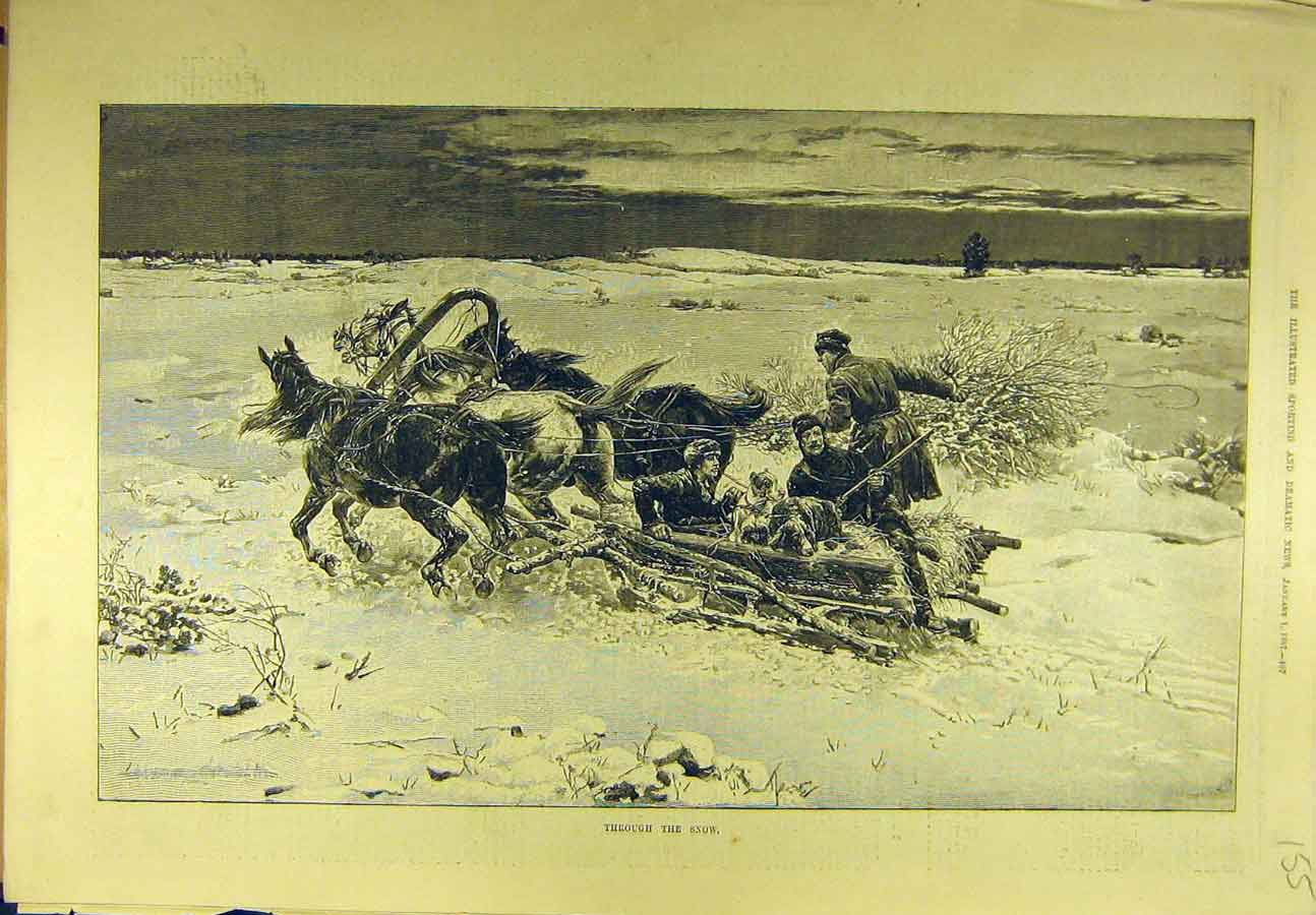 Print 1887 Horse-Sleigh Hunting Snow Dogs Sport 558721 Old Original