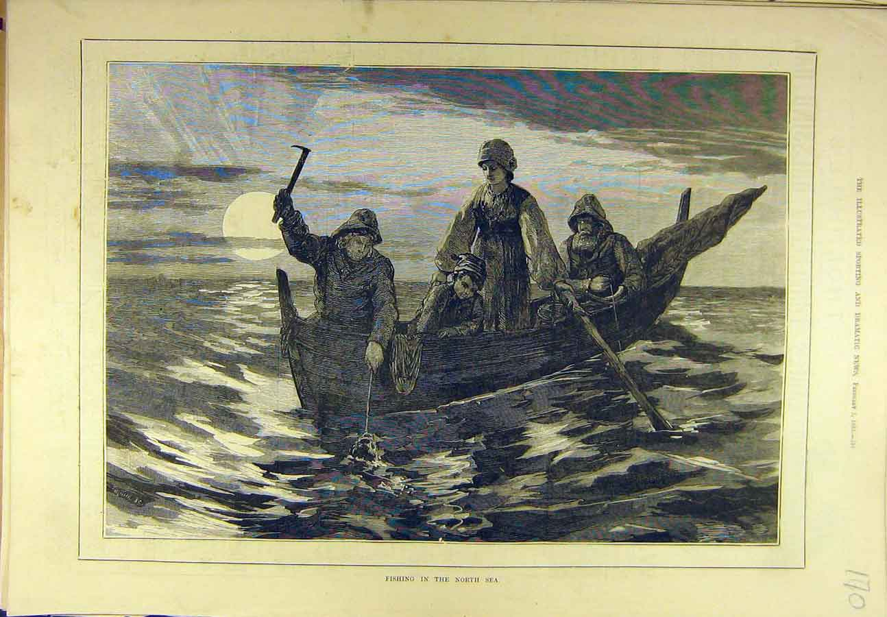 Print 1883 Fishing North-Sea Fishermen Boat Sport 708721 Old Original
