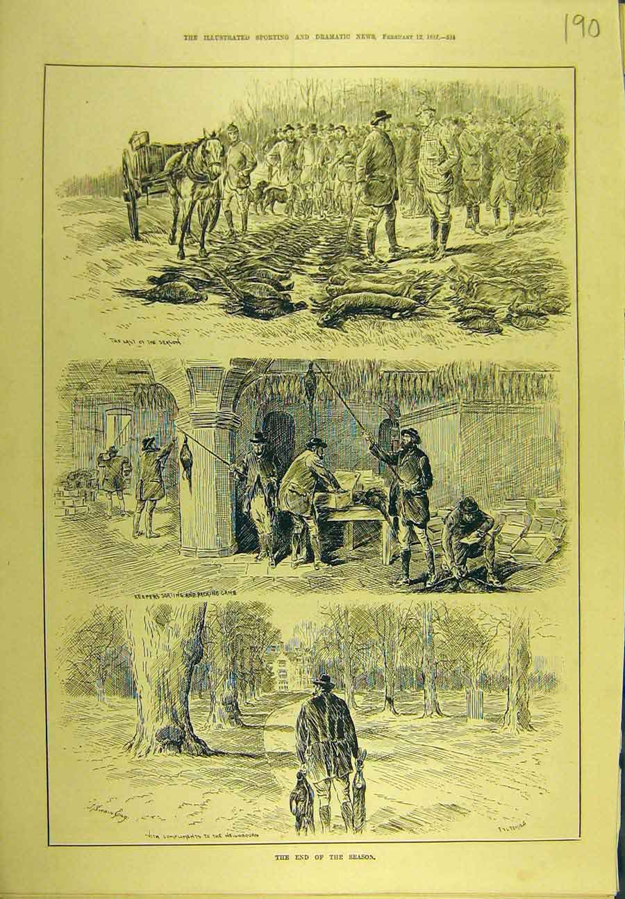 Print 1887 Season Shooting Pheasant Game-Birds Rabbits 908721 Old Original