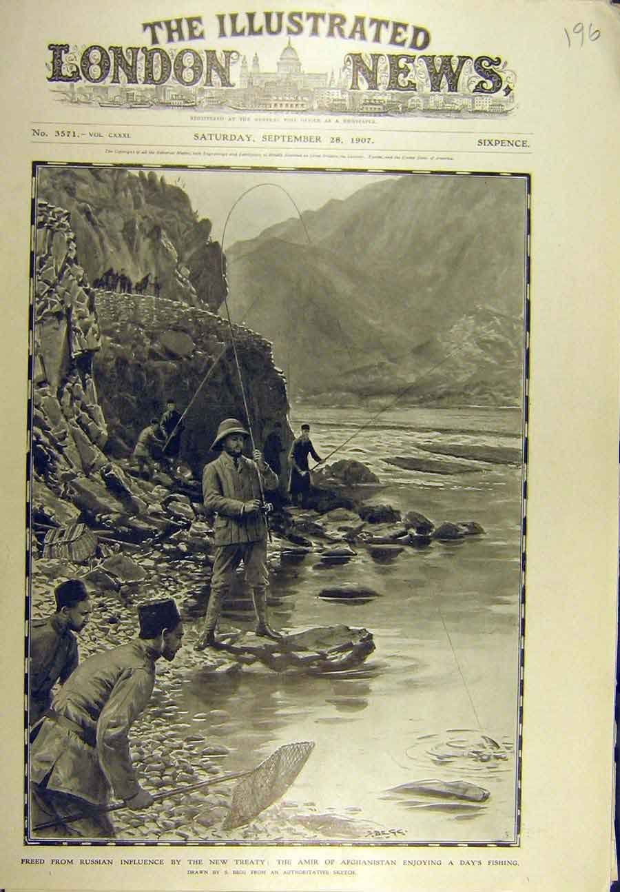 Print 1907 Amir Afgahnistan Fishing Begg Fishermen 968721 Old Original