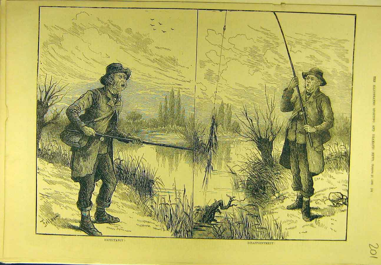 Print 1880 Fisherman Fishing Angling Sport 018721 Old Original