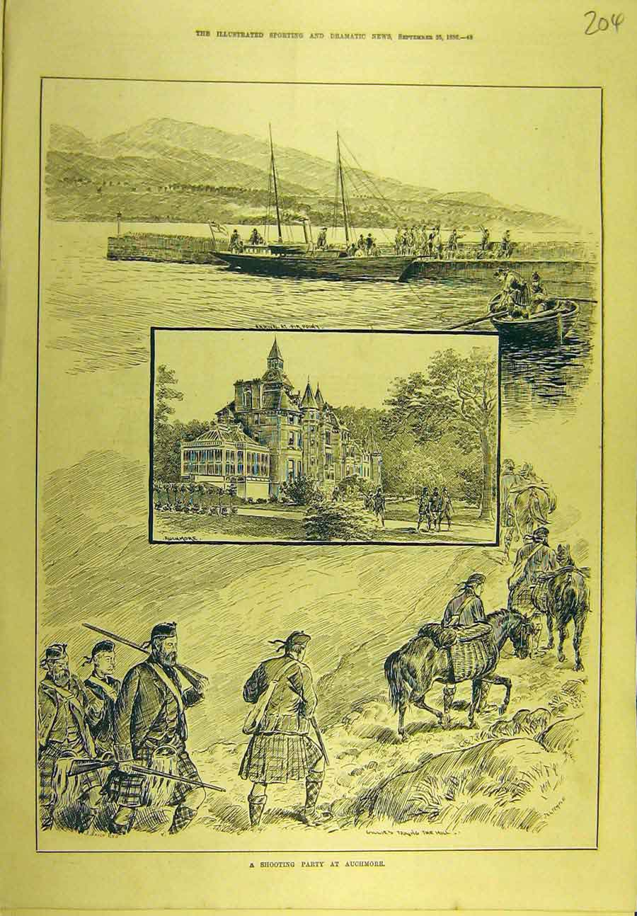 Print 1886 Shooting Party Auchmore Scotland Sport 048721 Old Original