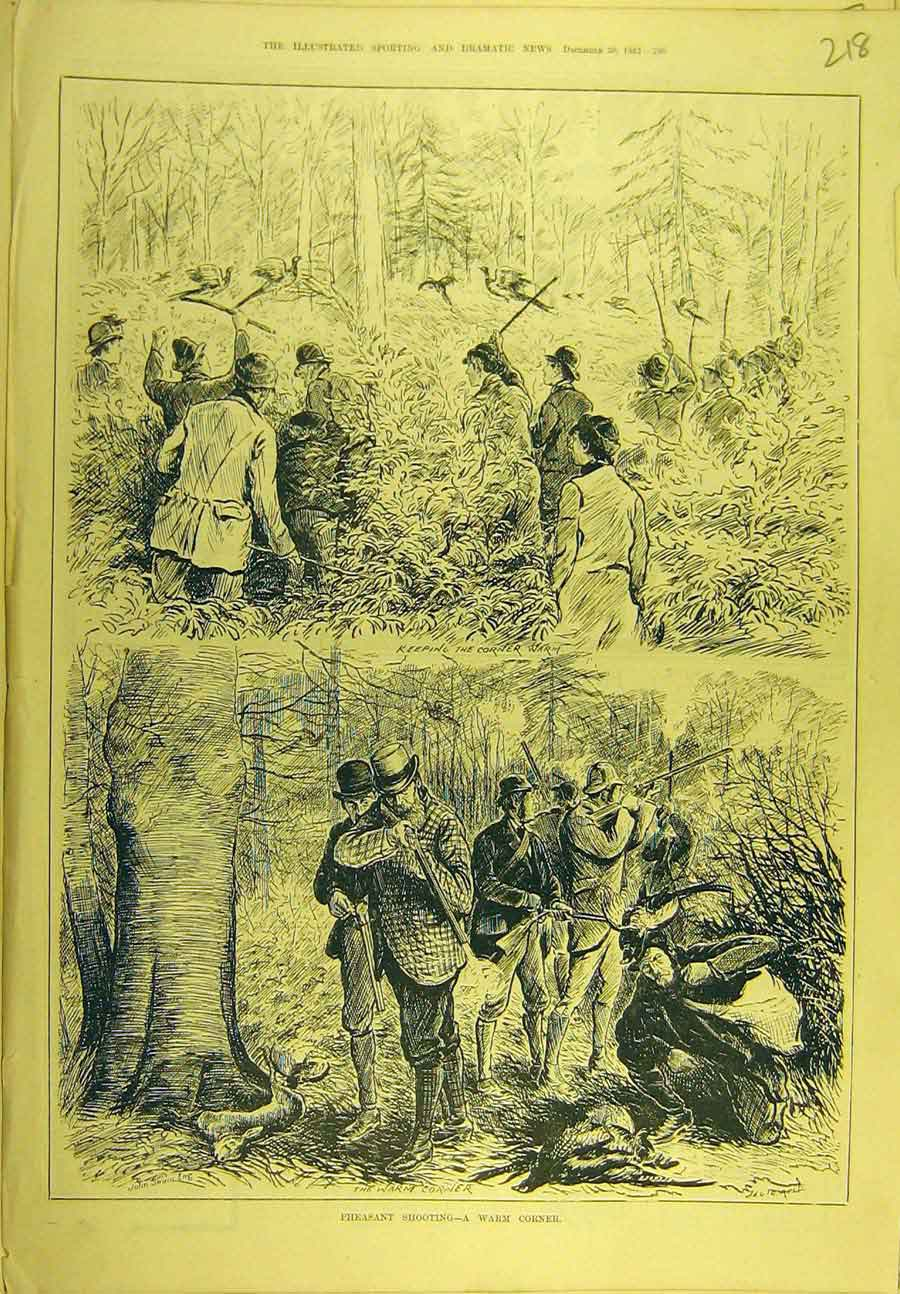 Print 1882 Pheasant Shooting Game-Birds Sport 188721 Old Original