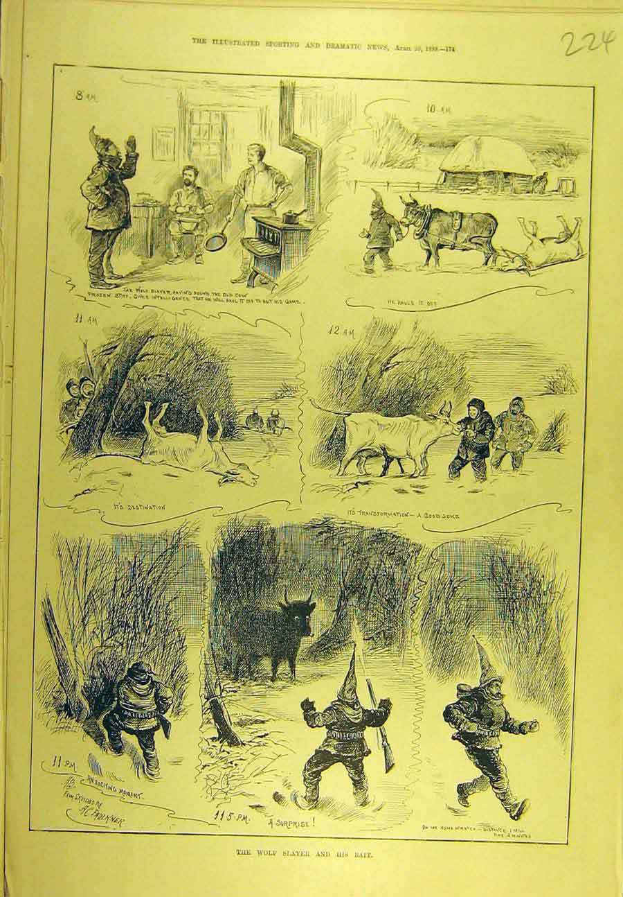 Print 1889 Wolf Slayer Bait Cow Hunting Sport 248721 Old Original