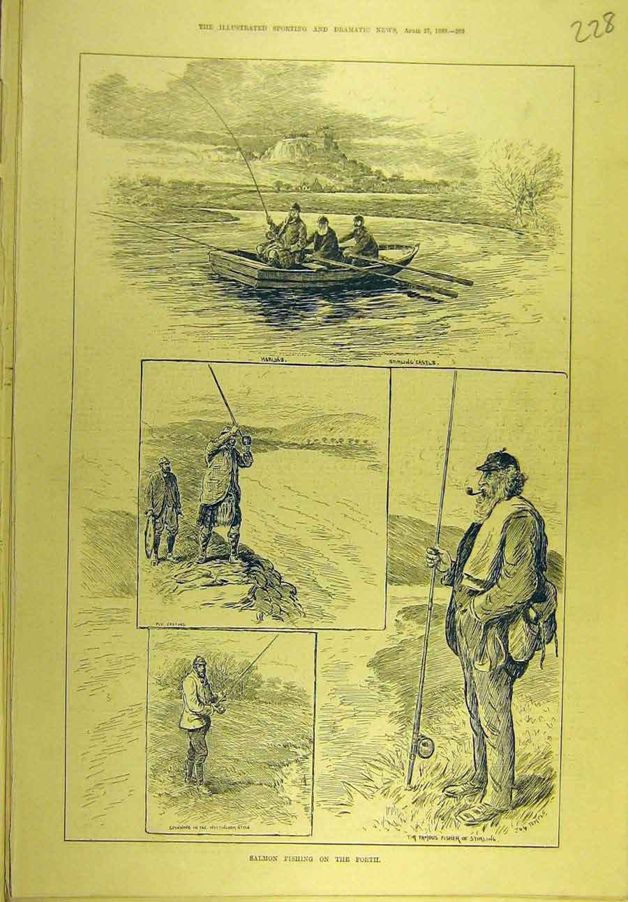 Print 1889 Salmon Fishing Forth Stirling Castle Fisherman 288721 Old Original