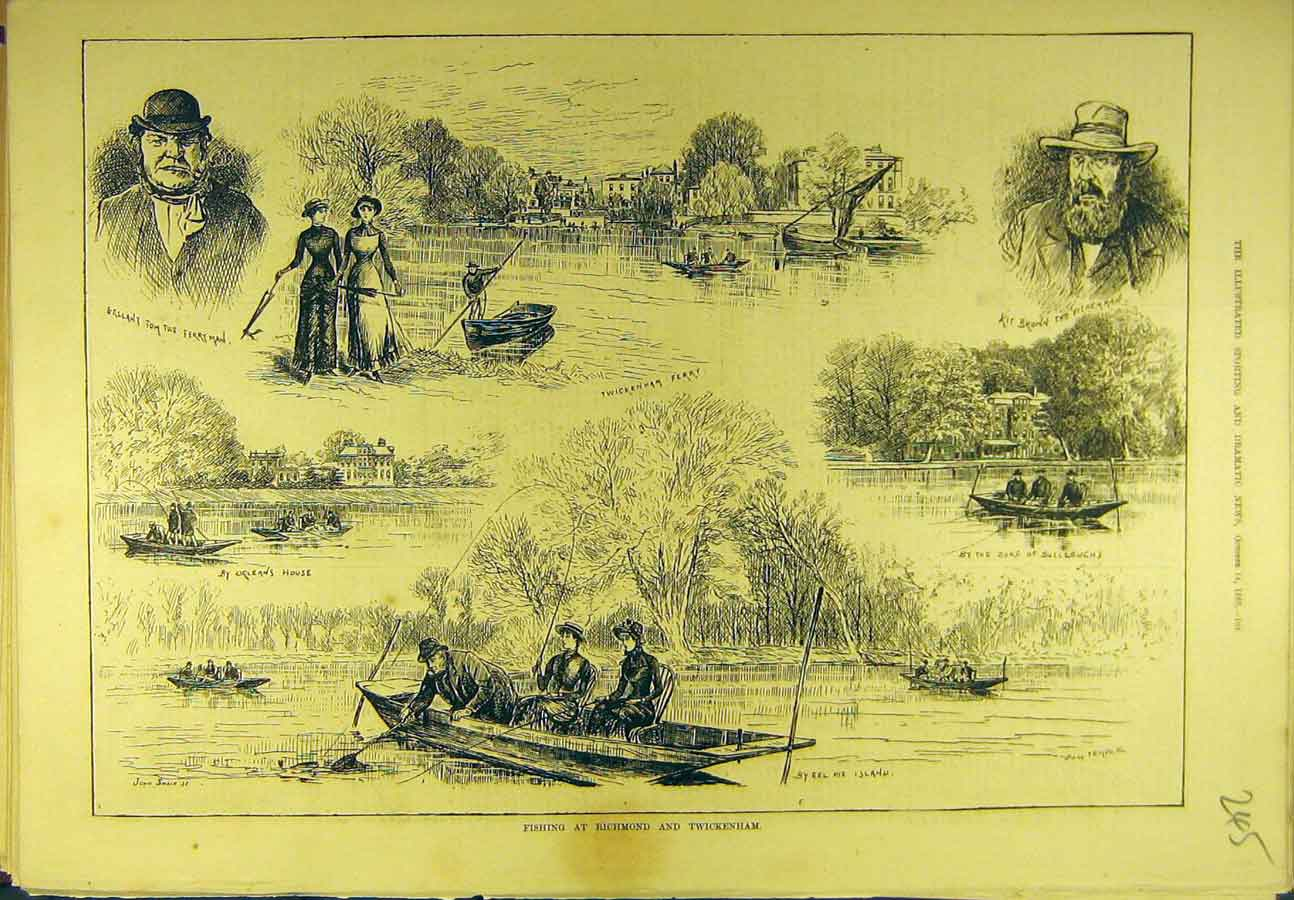 Print 1882 Fishing Richmond Twickenham Fishermen Sport 458721 Old Original