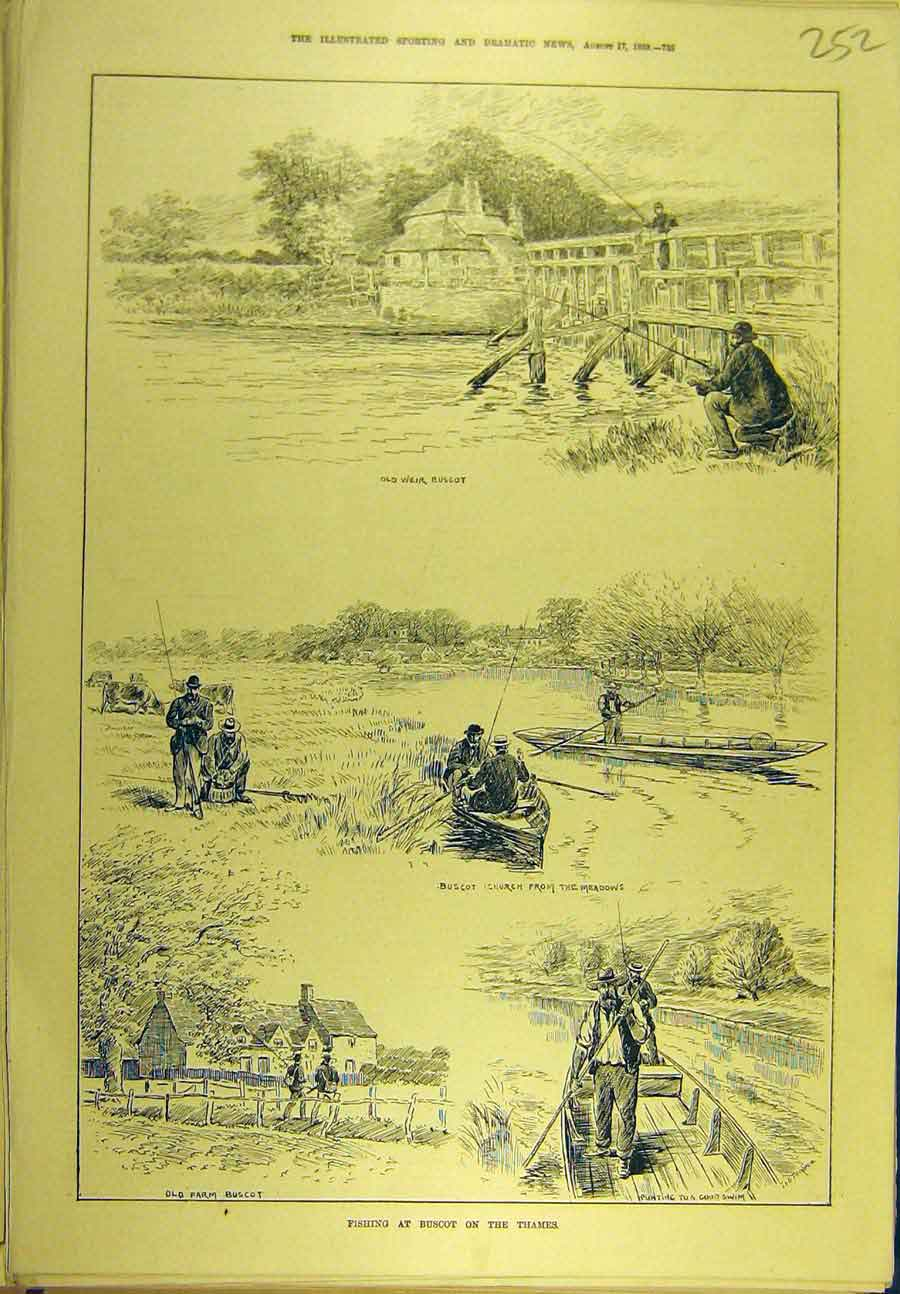 Print 1889 Fishing Buscot Thames Church Meadows Sport 528721 Old Original