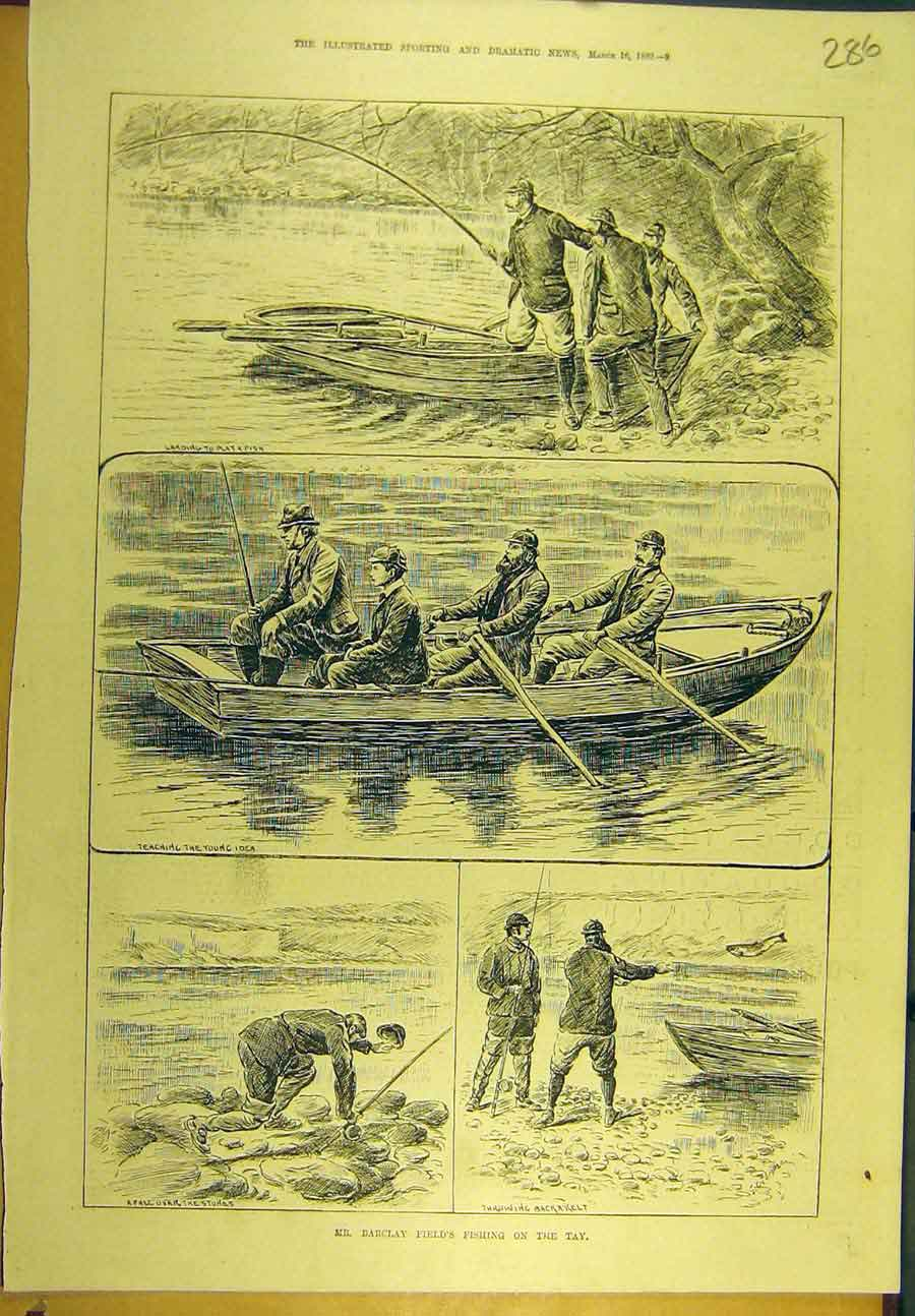 Print 1889 Barclay-Field Fishing Tay River Fishermen Boat 868721 Old Original