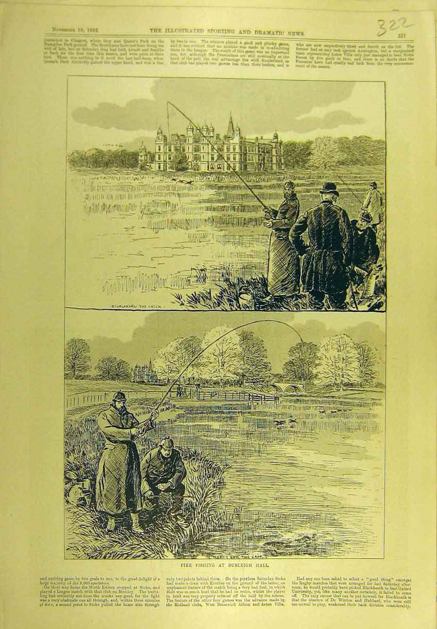 Print 1892 Pike Fishing Burleigh Hall Fishermen Sport 228721 Old Original