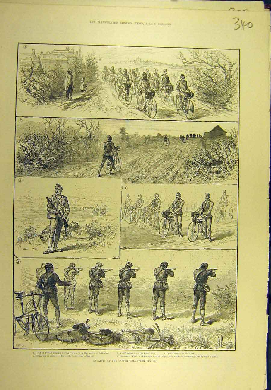 Print 1888 Cyclists Easter Volunteer Review Shooting Bicycle 408721 Old Original