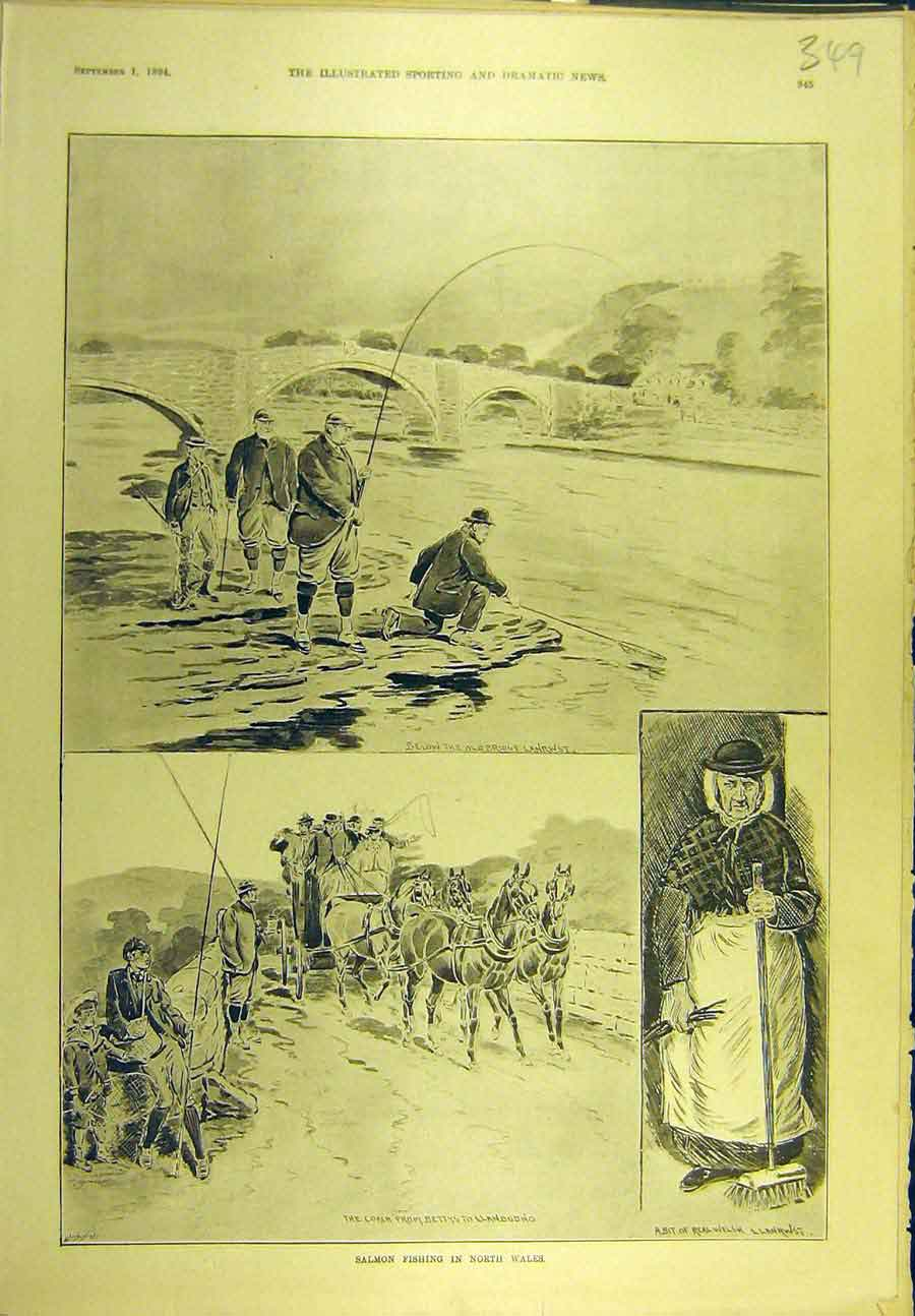 Print 1894 Salmon Fishing North-Wales Fishermen Lanrwst 498721 Old Original