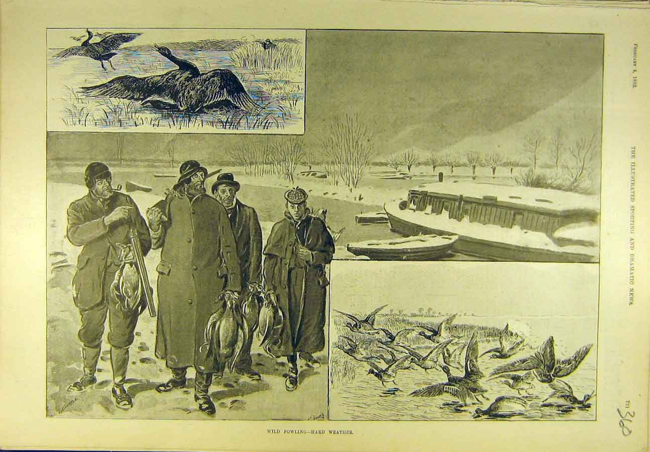 Print 1893 Wild-Fowling Weather Game-Bird Shooting Sport 608721 Old Original
