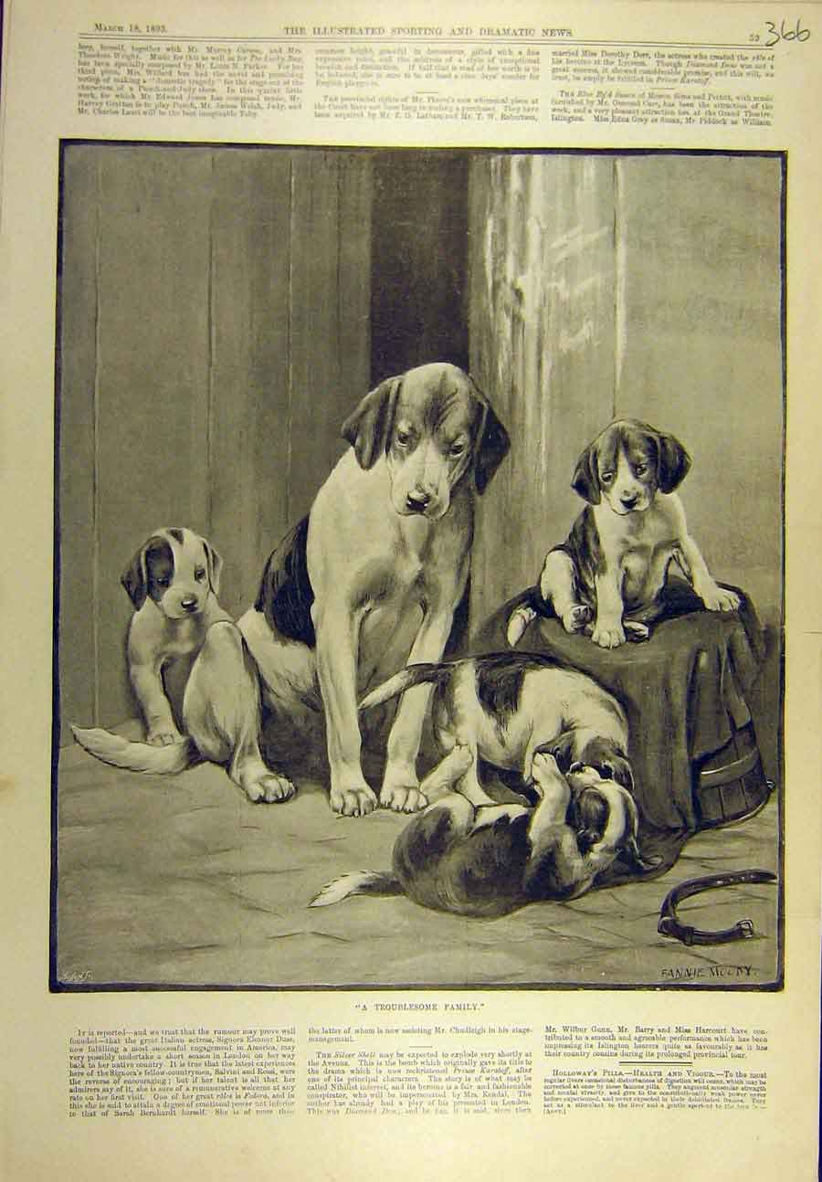 Print 1893 Troublesome Family Dog Puppies Moody 668721 Old Original