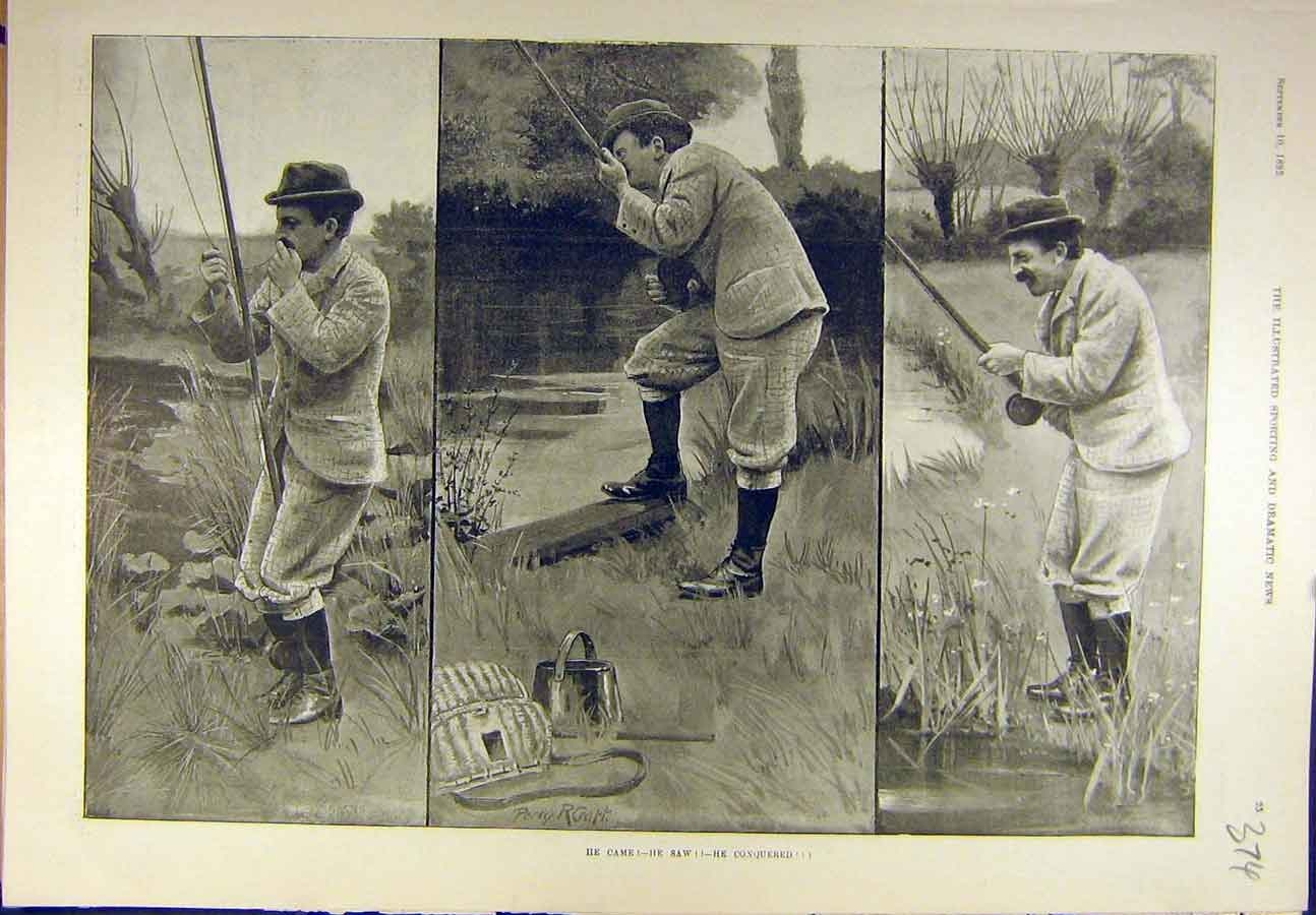 Print 1892 Fisherman Craft Fishing Sketches Sport 748721 Old Original