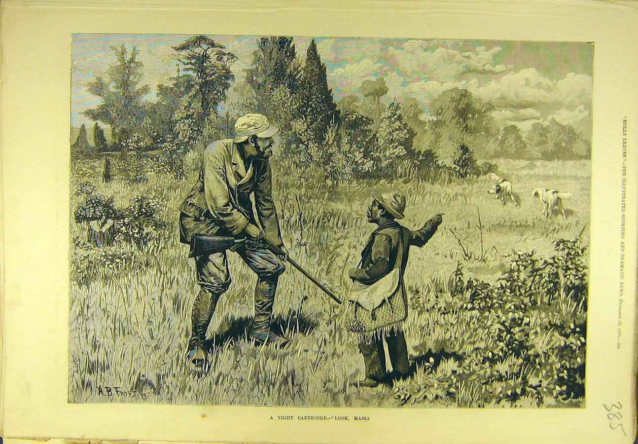 Print 1879 Tight-Cartridge Massa Dogs Shooting Sport 858721 Old Original