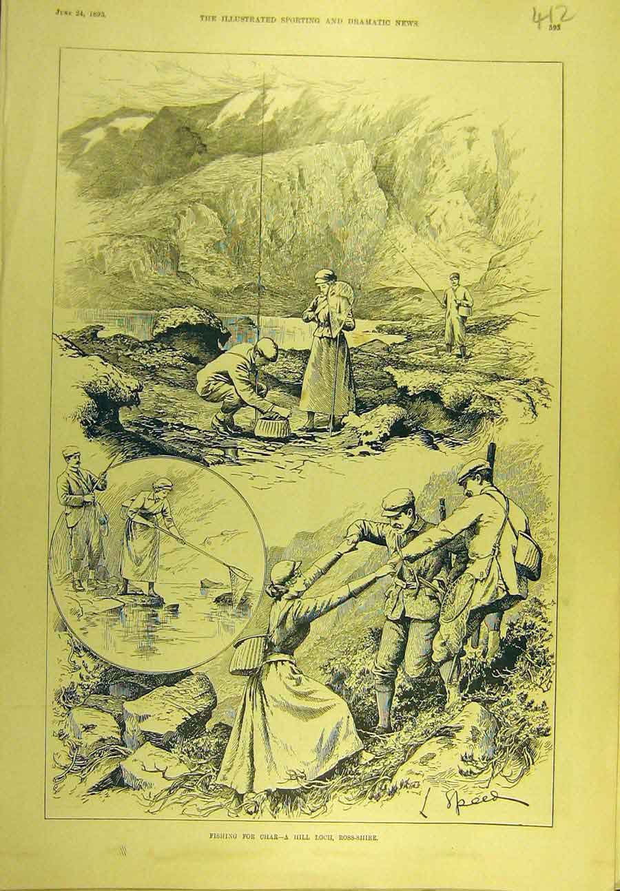 Print 1893 Fishing Char Hill-Loch Ross-Shire Scotland 128721 Old Original