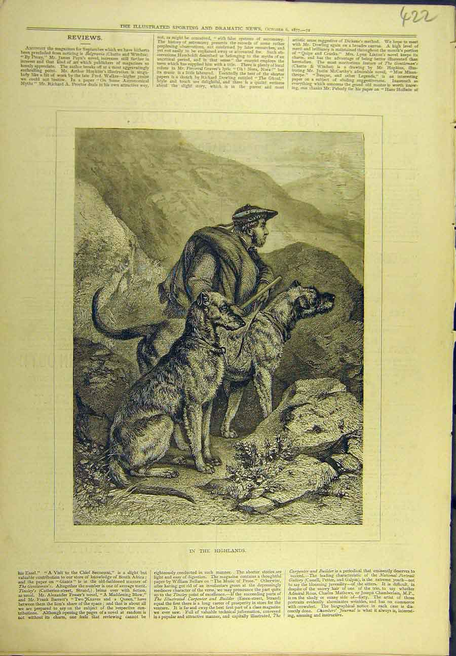 Print 1877 Highlands Hunting Shooting Hounds Scotland 228721 Old Original