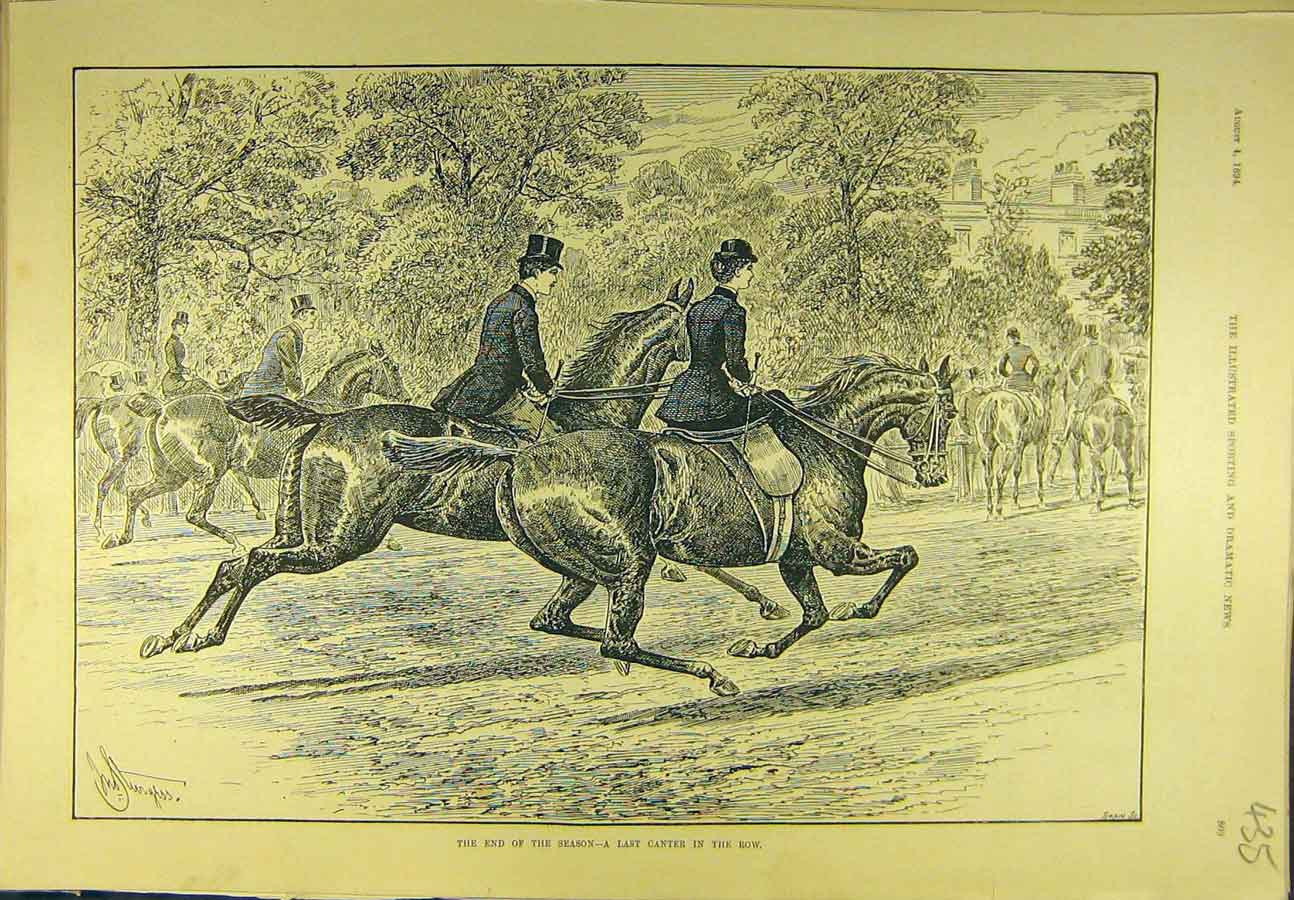 Print 1894 Last-Canter End-Season Hunting Sport 358721 Old Original