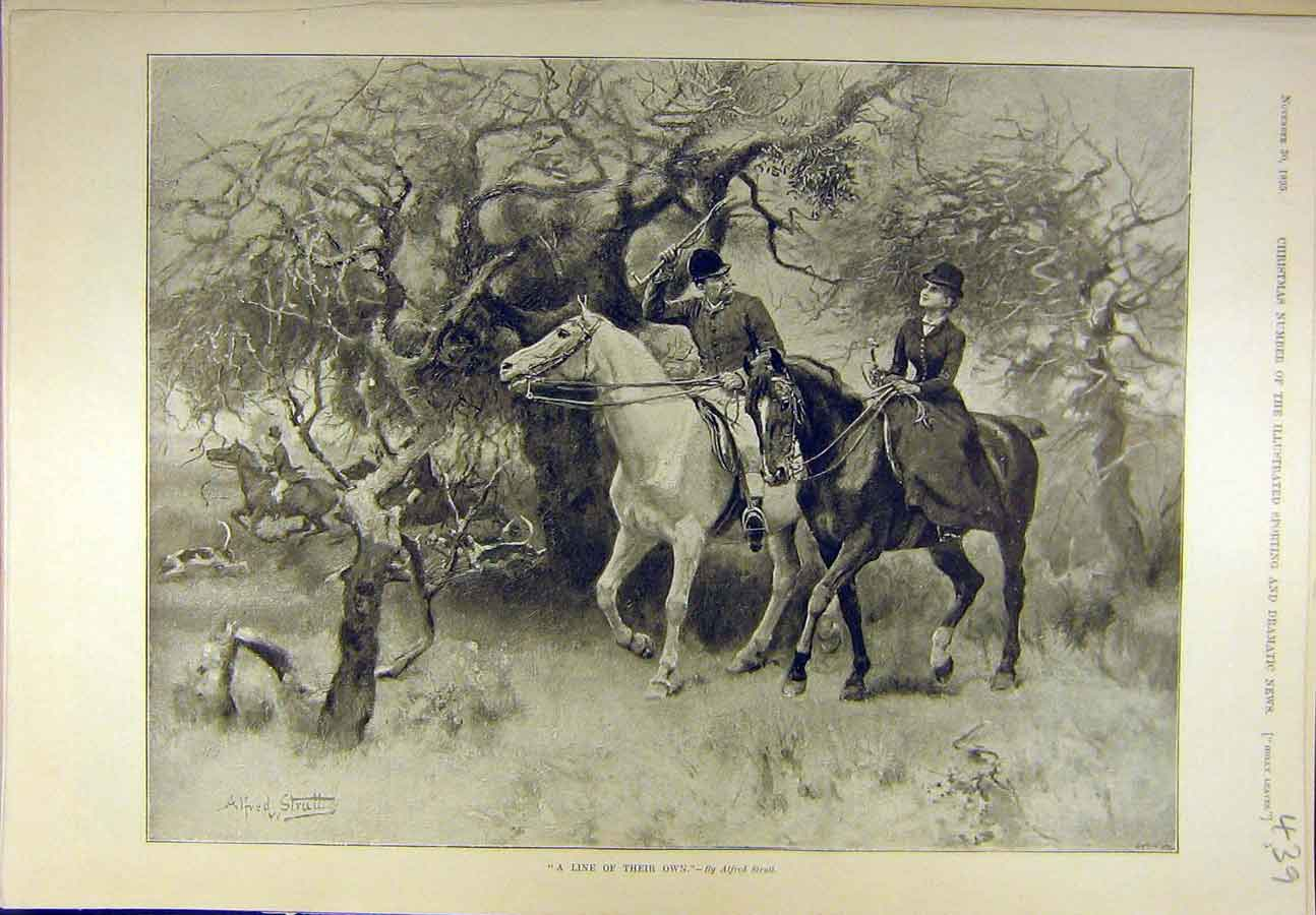 Print 1895 Hunting Strutt Lady Man Hunt Line Sport 398721 Old Original