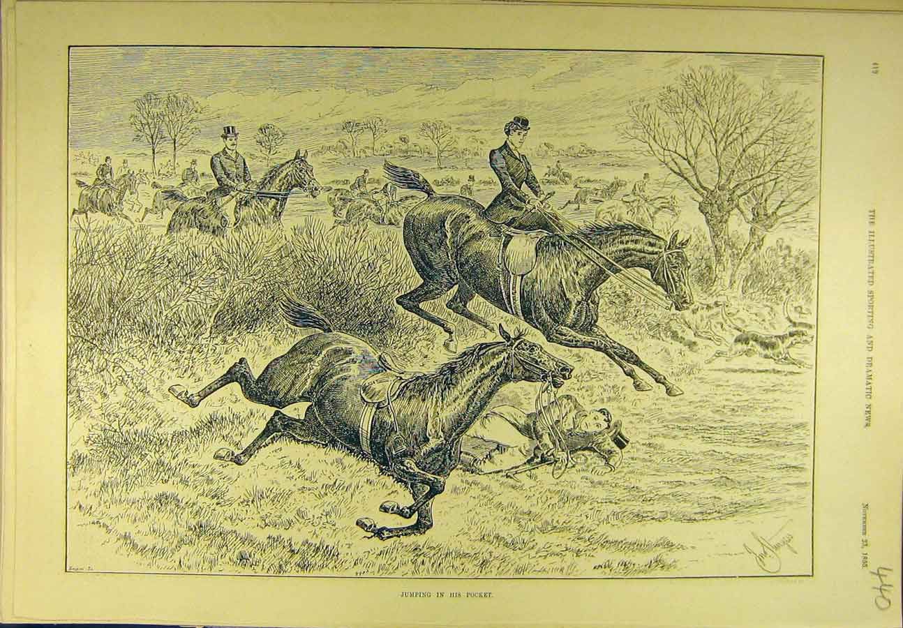 Print 1895 Jumping Pocket Hunting Hunt Horses Riders Jump 408721 Old Original