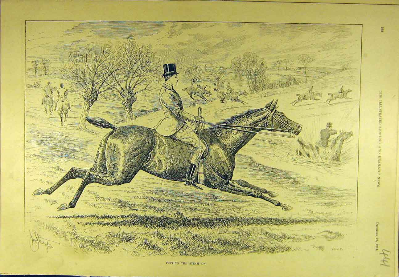 Print 1894 Hunting Steam-On Hunt Horses Riders Sport 418721 Old Original