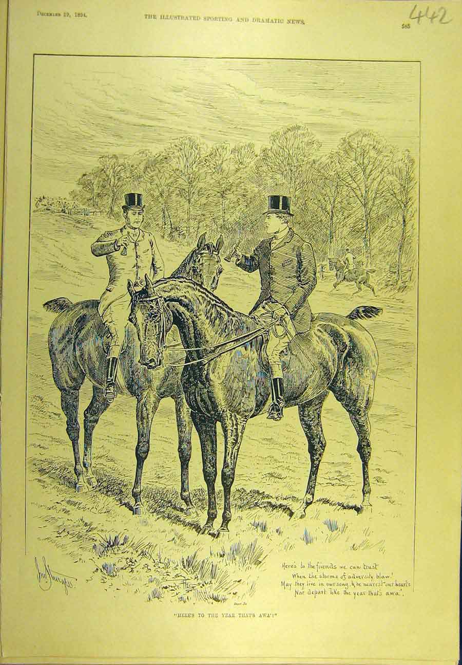 Print 1894 Hunting Hunt New-Year Toast Hunters Sport 428721 Old Original