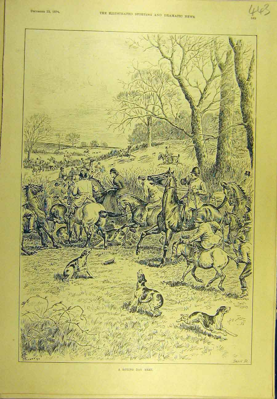 Print 1894 Boxing Day Meet Hunting Hunters Horse Hounds 438721 Old Original