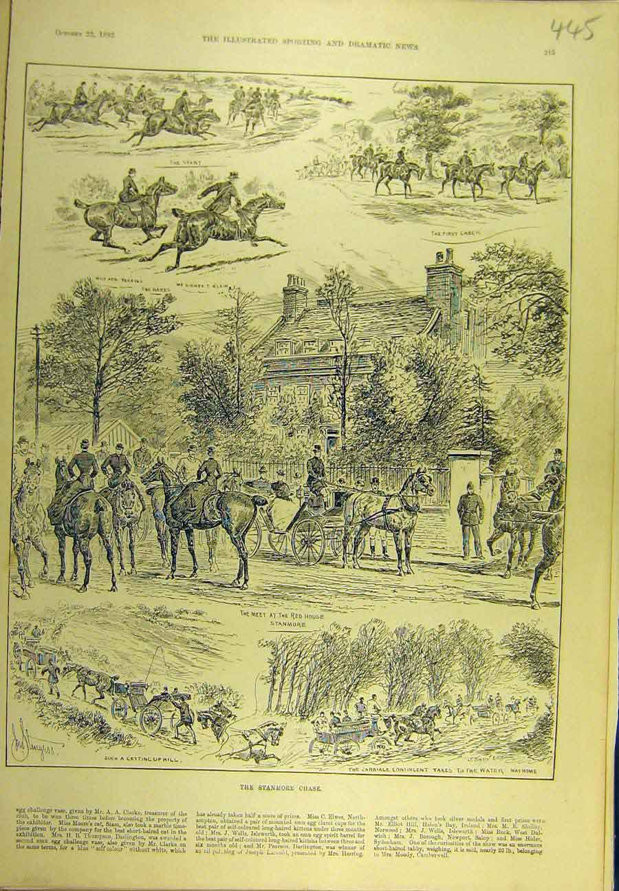 Print 1892 Stanmore Chase Hunt Hunting Hunters Sport 458721 Old Original