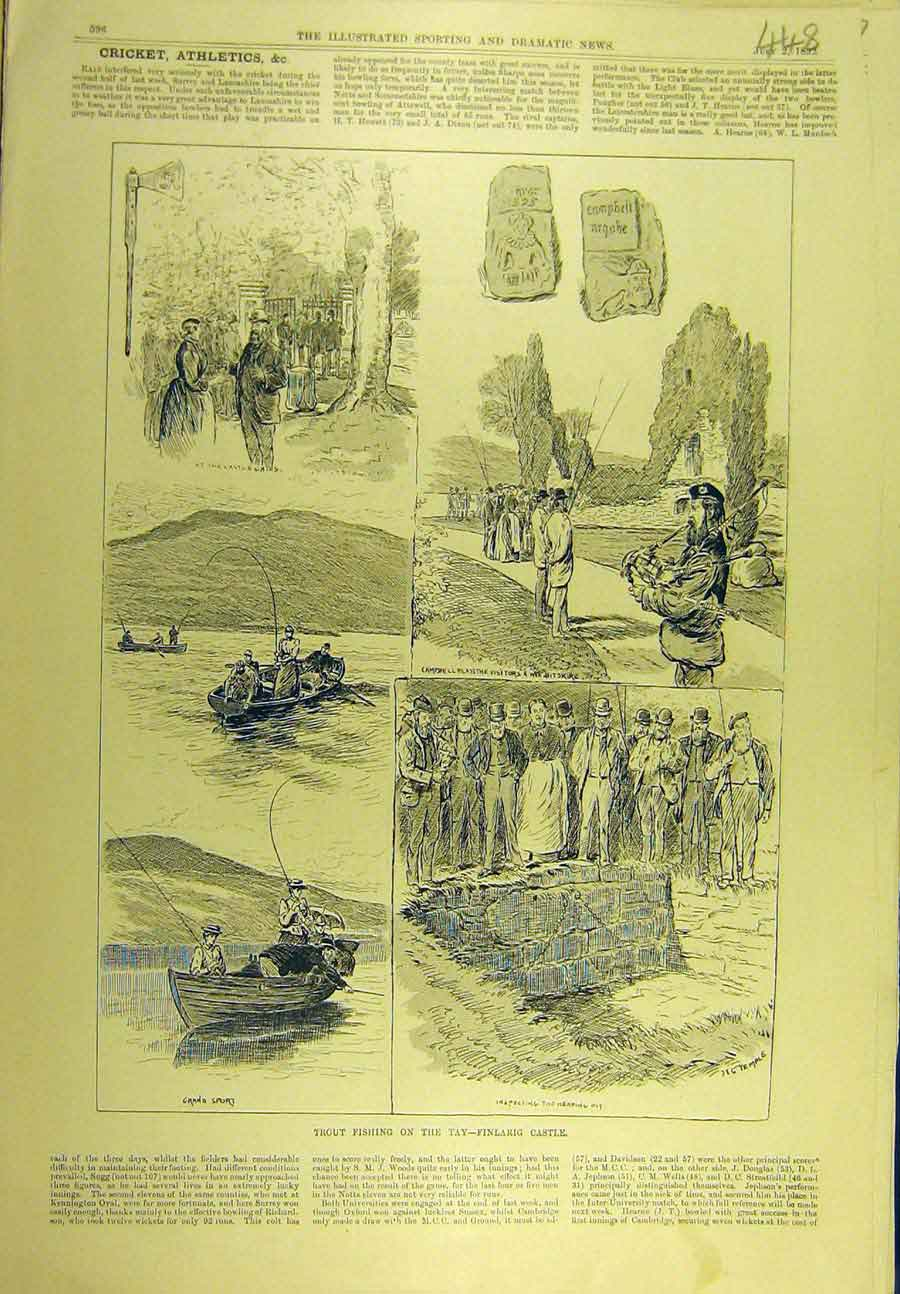 Print 1892 Trout Fishing Tay Finlarig Castle Fishermen 488721 Old Original