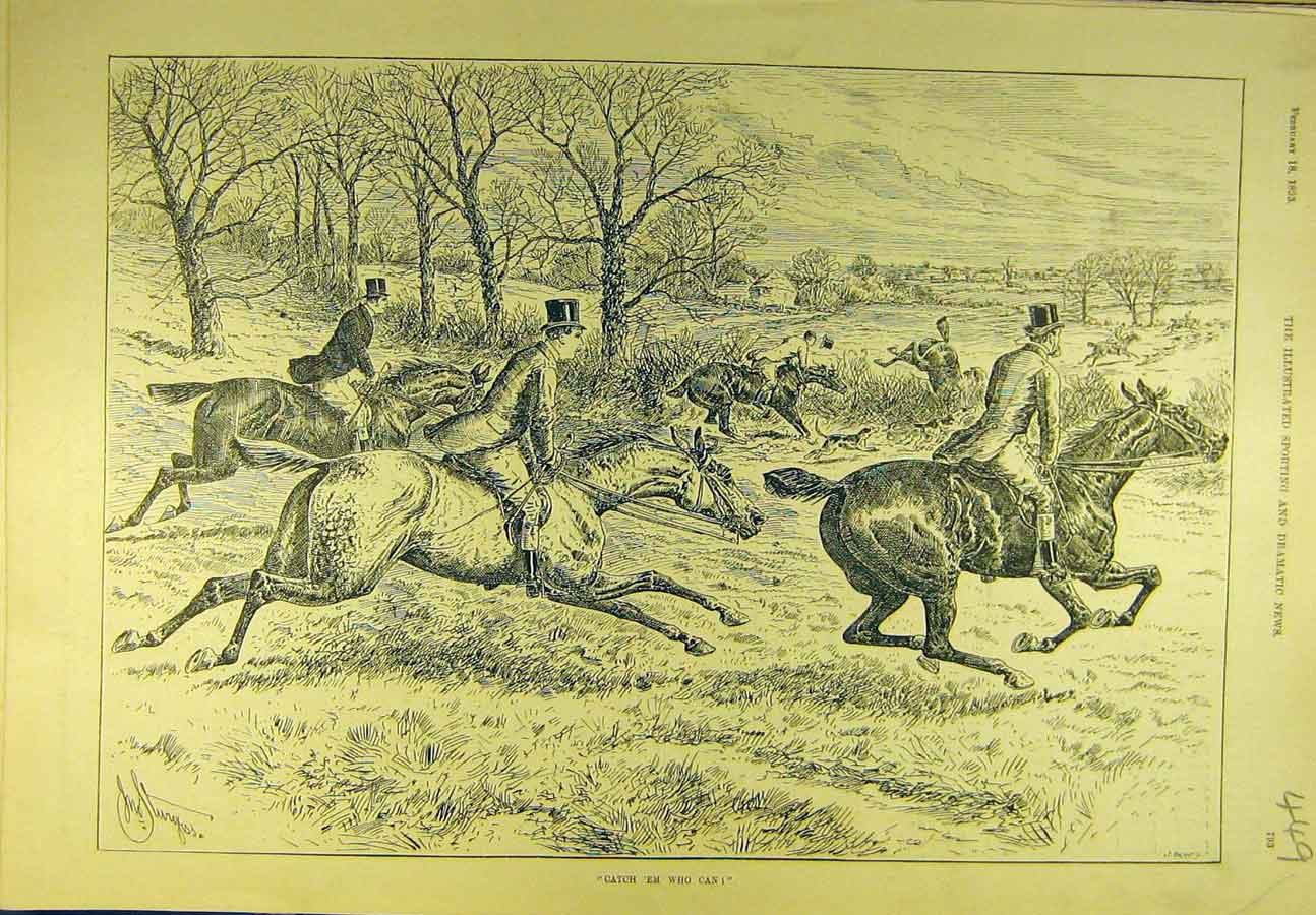 Print 1893 Hunting Catch Hunters Riders Horses Sport 498721 Old Original