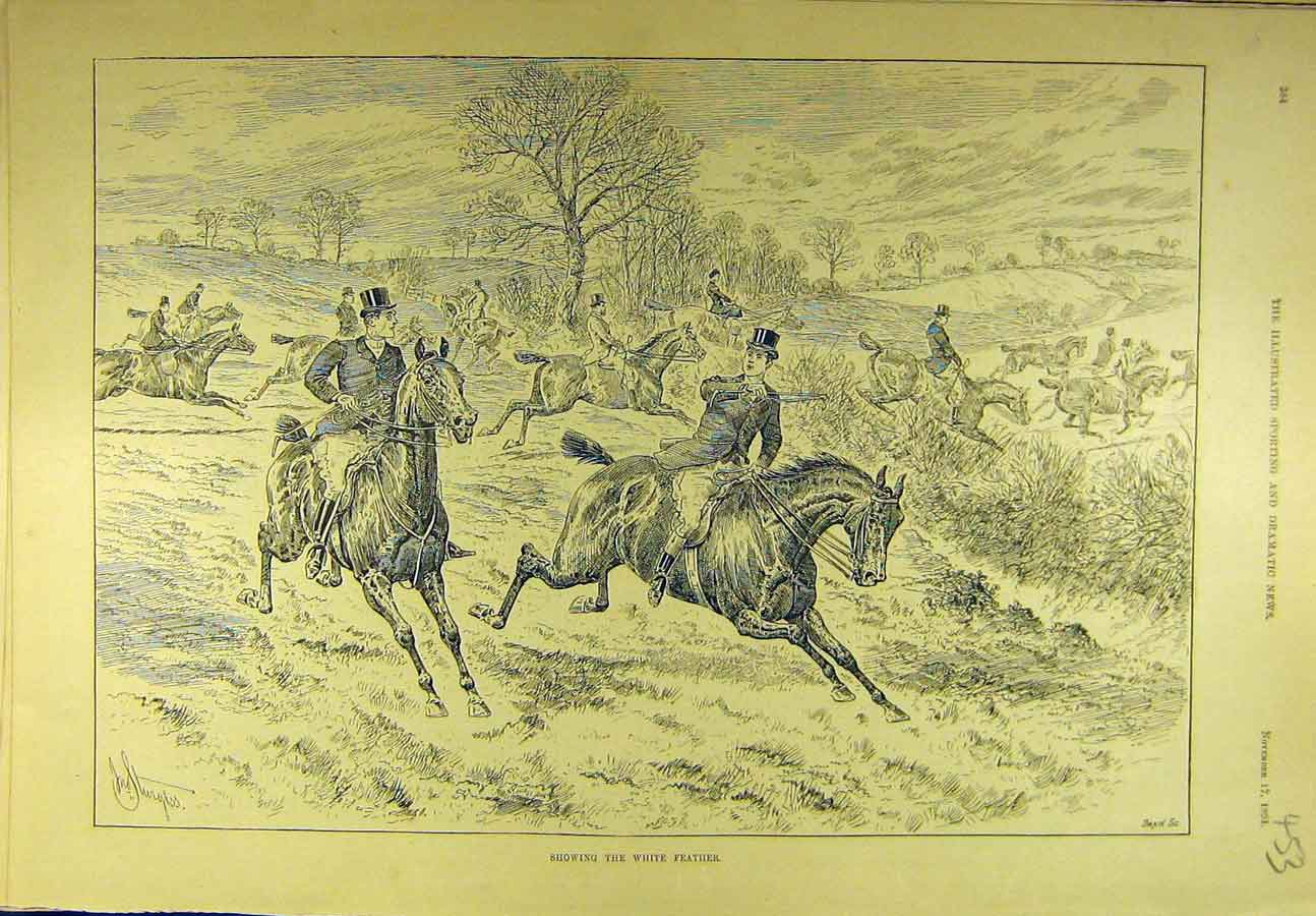 Print 1894 White Feather Hunting Hunt Horses Riders 538721 Old Original