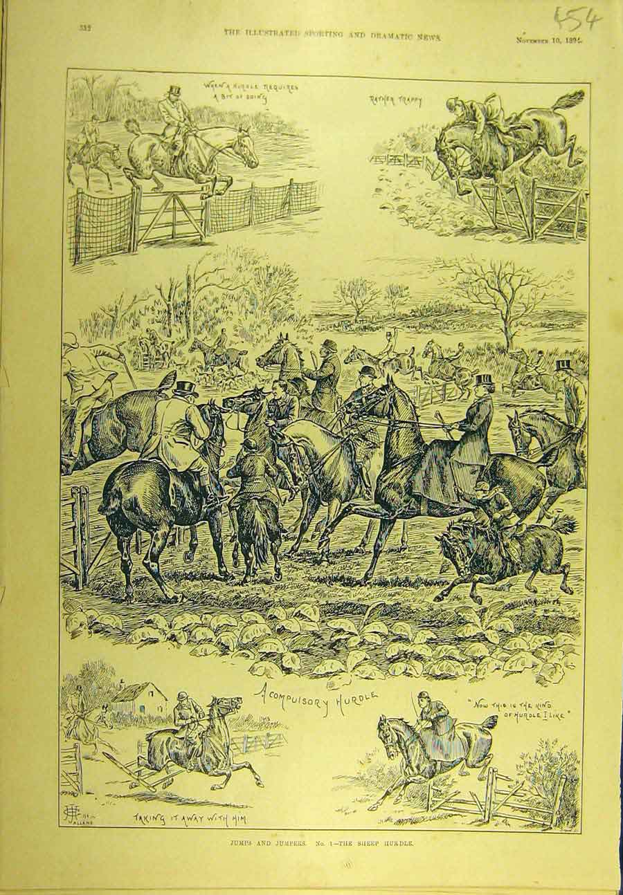 Print 1894 Jumps Jumpers Sheep-Hurdle Hunting Hunters 548721 Old Original